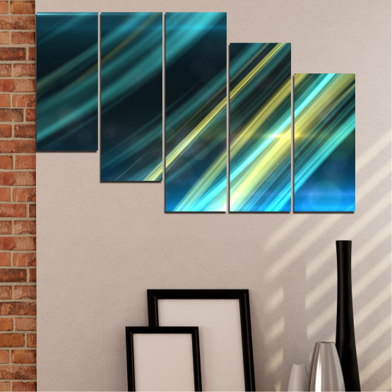 Canvas prints & wall decorative panels - 5 pieces №0073 » Blue, Turquoise, Black, Dark grey » Abstraction, Shine, Lines Form #7
