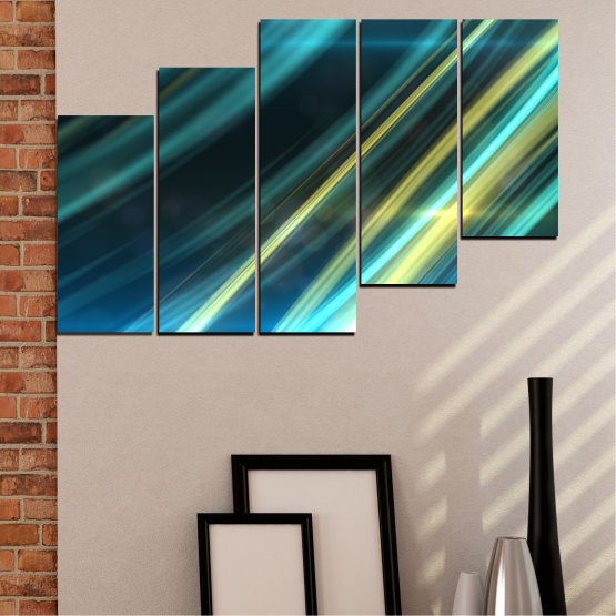 Canvas prints & wall decorative panels - 5 pieces №0073 » Blue, Turquoise, Black, Dark grey » Abstraction, Shine, Lines Form #8