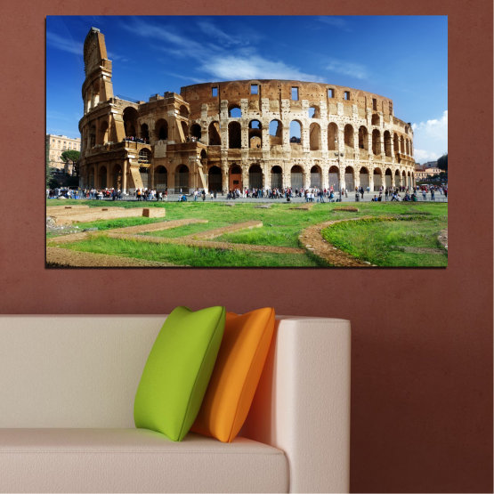 Canvas prints & wall decorative panels - 1 piece №0035 » Blue, Brown, Black, Gray » Landmark, Italy, Capital, Rome, Coliseum Form #1