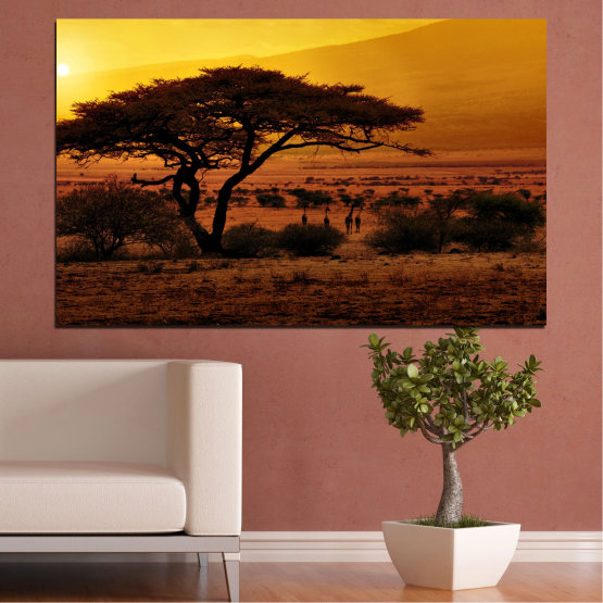 Canvas prints & wall decorative panels - 1 piece №0036 » Yellow, Orange, Brown, Black » Sunset, Tree, Africa Form #1