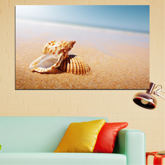 Canvas prints & wall decorative panels - 1 piece №0037 » Orange, Gray, White, Beige » Sea, Beach, Summer, Seaside Form #1