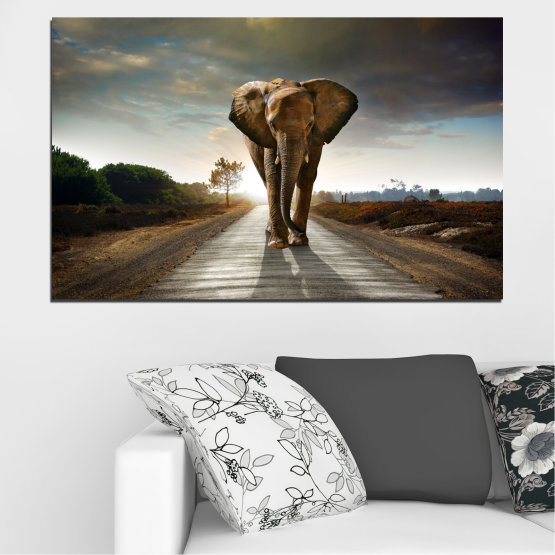 Canvas prints & wall decorative panels - 1 piece №0038 » Brown, Black, Gray, Dark grey » Animal, Road, Elephant Form #1
