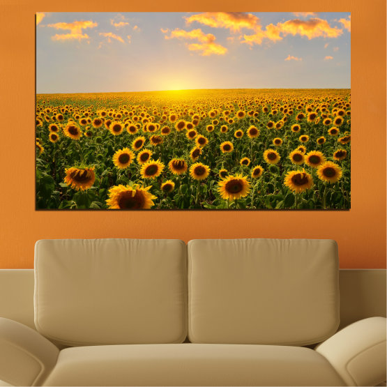 Canvas prints & wall decorative panels - 1 piece №0040 » Green, Brown, Black, Gray, Beige » Flowers, Nature, Sun, Sky, Sunflower, Field Form #1