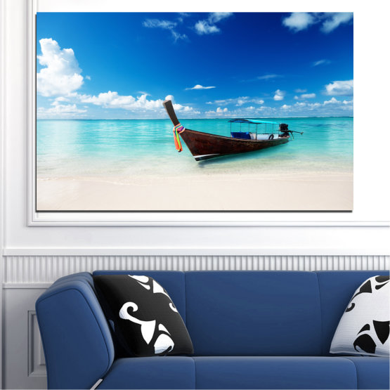 Canvas prints & wall decorative panels - 1 piece №0041 » Blue, Turquoise, Gray, White » Sea, Water, Sky, Sand, Boat Form #1