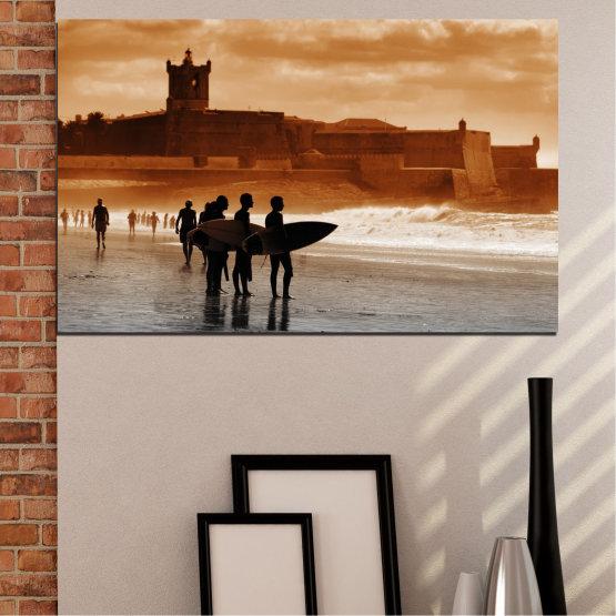 Εκτύπωση σε καμβά και διακοσμητικά πάνελ τοίχου - 1 τεμάχιο №0042 » Πορτοκάλι, Καστανός, Γκρί, Μπεζ » Θάλασσα, Καλοκαίρι, Παραλία, Άμμος, Σκιά Form #1