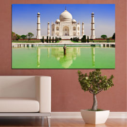 Landmark, Taj mahal, India, Аsia » Blue, Turquoise, Green, Gray
