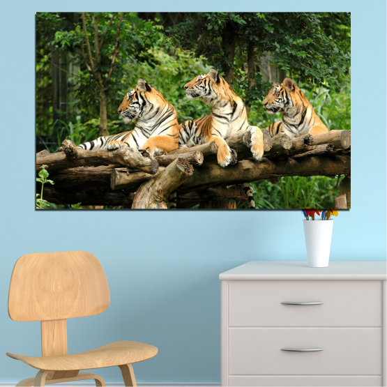 Canvas prints & wall decorative panels - 1 piece №0044 » Green, Brown, Black, Gray, Dark grey » Animal, Tree, Tiger Form #1