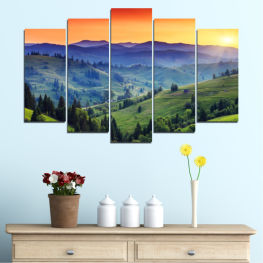 Nature, Sunset, Mountain, Forest, Meadow » Red, Blue, Green, Yellow, Black, Dark grey