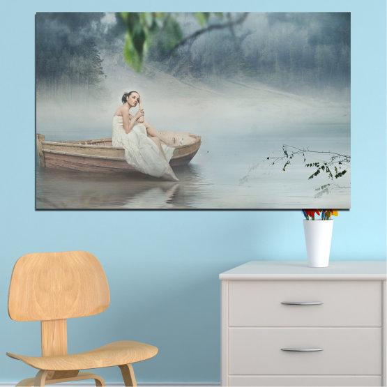 Canvas prints & wall decorative panels - 1 piece №0056 » Brown, Gray, Dark grey » Water, Woman, Boat Form #1