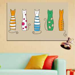 Animal, Art, Drawing, Cat » Green, Orange, Black, White, Beige
