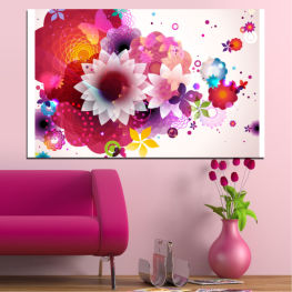 Flowers, Abstraction, Colorful » Red, Pink, Gray, White, Milky pink