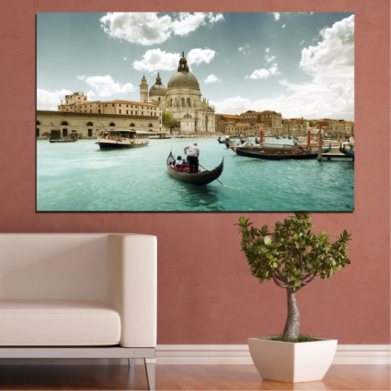 Canvas prints & wall decorative panels - 1 piece №0050 » Brown, Gray, White » Landscape, Water, City, Italy, Venice, Boat Form #1
