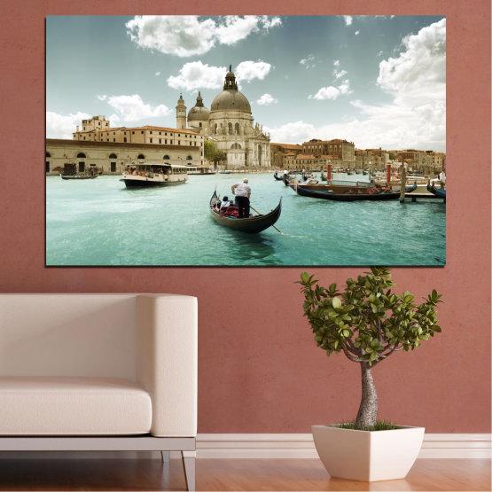 Εκτύπωση σε καμβά και διακοσμητικά πάνελ τοίχου - 1 τεμάχιο №0050 » Καστανός, Γκρί, Άσπρο » Τοπίο, Πόλη, Νερό, Ιταλία, Βενετία, Σκάφος Form #1