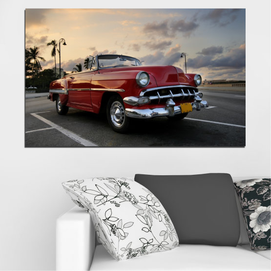 Canvas prints & wall decorative panels - 1 piece №0051 » Red, Black, Gray, Beige, Dark grey » Retro, Vehicle, Car, Road Form #1