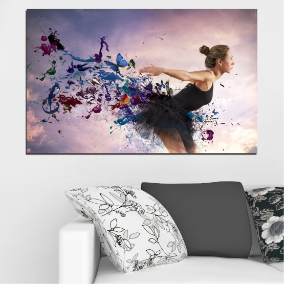 Canvas prints & wall decorative panels - 1 piece №0052 » Purple, Gray, White, Dark grey » Woman, Collage, Butterfly, Art Form #1