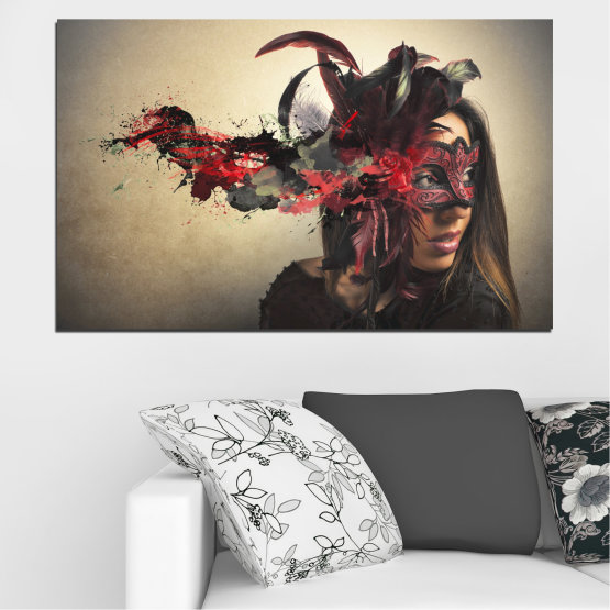 Canvas prints & wall decorative panels - 1 piece №0053 » Brown, Black, Gray, Beige, Dark grey » Woman, Collage, Mask, Carnival Form #1