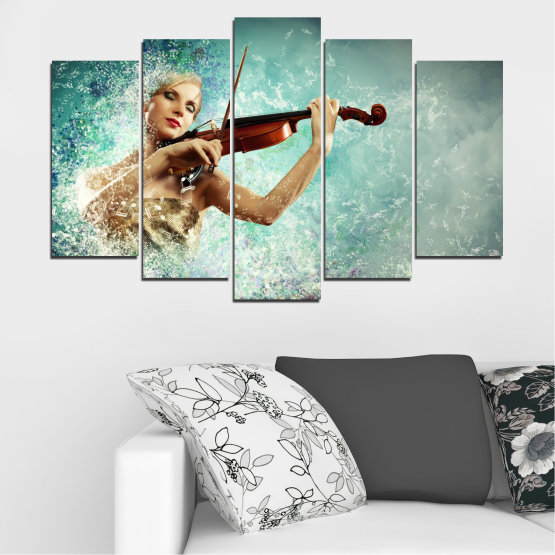 Canvas prints & wall decorative panels - 5 pieces №0075 » Turquoise, Gray, White, Beige, Dark grey » Woman, Collage, Art, Music Form #1