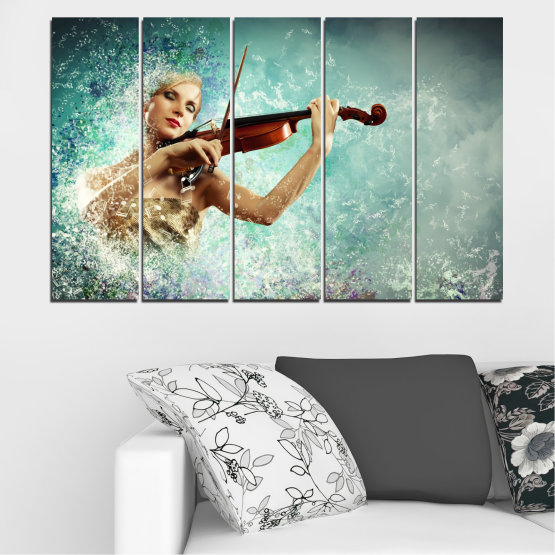 Canvas prints & wall decorative panels - 5 pieces №0075 » Turquoise, Gray, White, Beige, Dark grey » Woman, Collage, Art, Music Form #2