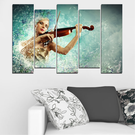 Canvas prints & wall decorative panels - 5 pieces №0075 » Turquoise, Gray, White, Beige, Dark grey » Woman, Collage, Art, Music Form #3