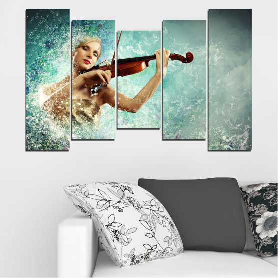 Canvas prints & wall decorative panels - 5 pieces №0075 » Turquoise, Gray, White, Beige, Dark grey » Woman, Collage, Art, Music Form #4