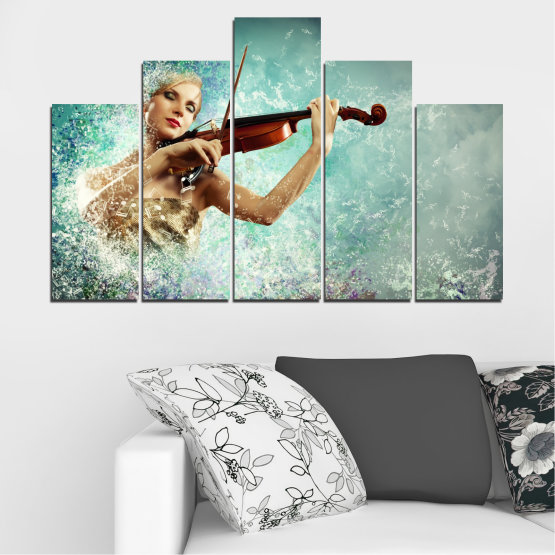 Canvas prints & wall decorative panels - 5 pieces №0075 » Turquoise, Gray, White, Beige, Dark grey » Woman, Collage, Art, Music Form #5
