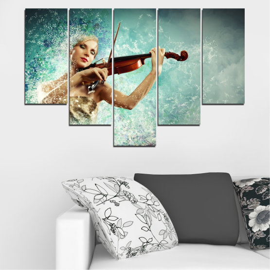 Canvas prints & wall decorative panels - 5 pieces №0075 » Turquoise, Gray, White, Beige, Dark grey » Woman, Collage, Art, Music Form #6