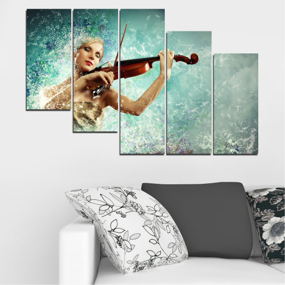 Canvas prints & wall decorative panels - 5 pieces №0075 » Turquoise, Gray, White, Beige, Dark grey » Woman, Collage, Art, Music Form #7