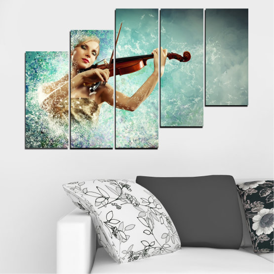 Canvas prints & wall decorative panels - 5 pieces №0075 » Turquoise, Gray, White, Beige, Dark grey » Woman, Collage, Art, Music Form #8