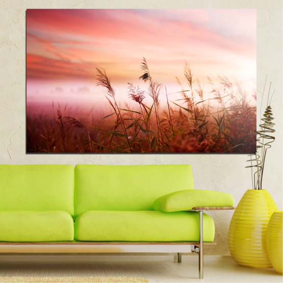 Canvas prints & wall decorative panels - 1 piece №0055 » Brown, White, Beige, Milky pink » Nature, Sunset, Wheatear, Field Form #1