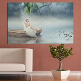 Water, Woman, Boat » Brown, Gray, Dark grey