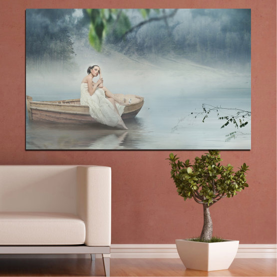 Canvas prints & wall decorative panels - 1 piece №0056 » Brown, Gray, Dark grey » Water, Woman, Boat Form #1