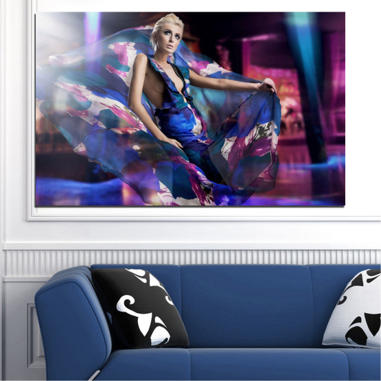 Canvas prints & wall decorative panels - 1 piece №0058 » Blue, Black, Gray, Dark grey » Woman, Collage, Fashion Form #1