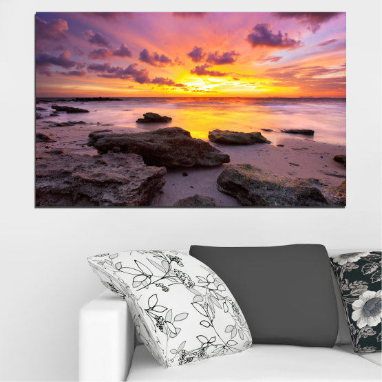 Canvas prints & wall decorative panels - 1 piece №0059 » Yellow, Brown, Black, Gray, Dark grey » Sea, Sunrise, Water, Sky, Rocks, Cloud Form #1