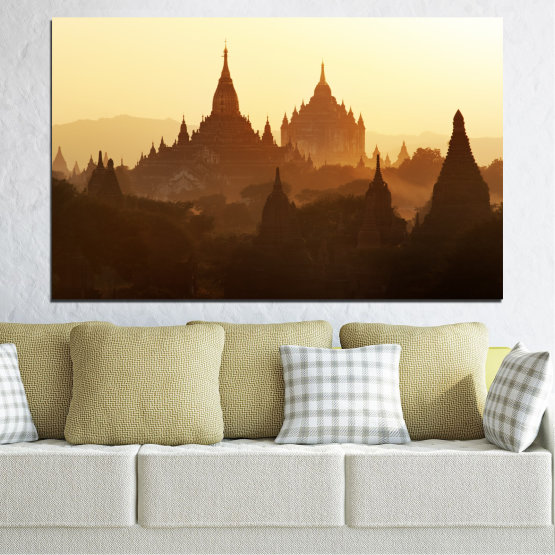 Canvas prints & wall decorative panels - 1 piece №0060 » Brown, Black, White, Beige » City, Castle, Temple Form #1