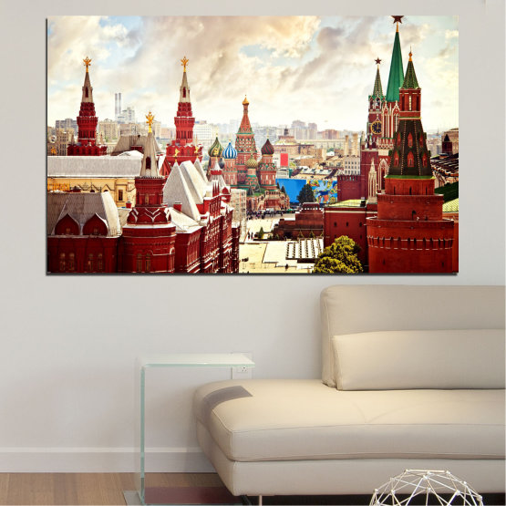 Canvas prints & wall decorative panels - 1 piece №0061 » Red, Gray, White, Beige » City, Landmark, Russia, Red square Form #1