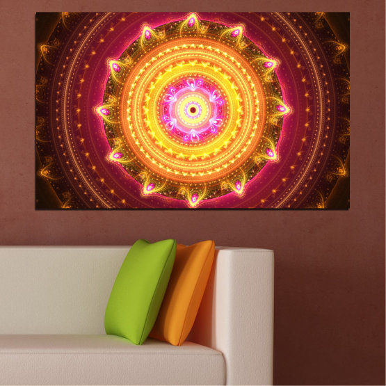 Canvas prints & wall decorative panels - 1 piece №0062 » Red, Yellow, Orange, Brown, Black » Abstraction, Mandala, Symbol, Buddha Form #1