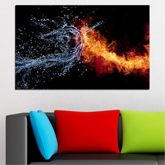 Canvas prints & wall decorative panels - 1 piece №0063 » Red, Yellow, Orange, Black, Dark grey » Abstraction, Water, Fire Form #1