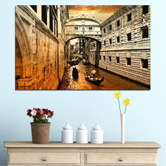 Декоративни панели и картини от канава - от 1 част №0064 » Оранжев, Кафяв, Черен, Бежов » Венеция, Италия, Лодка, Канал Form #1