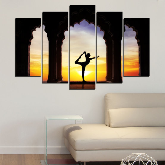 Canvas prints & wall decorative panels - 5 pieces №0076 » Red, Yellow, Brown, Black, Gray, Beige » Sunset, Shadow, Yoga Form #1