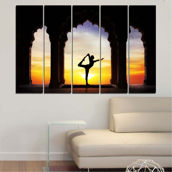 Canvas prints & wall decorative panels - 5 pieces №0076 » Red, Yellow, Brown, Black, Gray, Beige » Sunset, Shadow, Yoga Form #2
