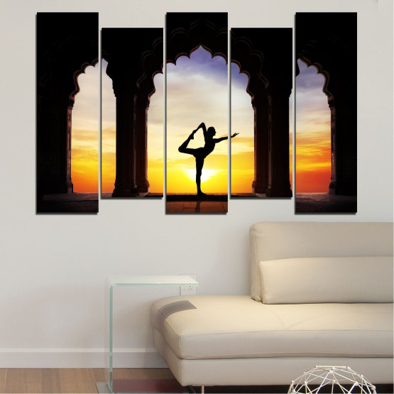Canvas prints & wall decorative panels - 5 pieces №0076 » Red, Yellow, Brown, Black, Gray, Beige » Sunset, Shadow, Yoga Form #3
