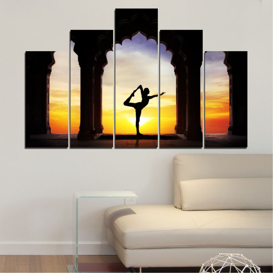 Canvas prints & wall decorative panels - 5 pieces №0076 » Red, Yellow, Brown, Black, Gray, Beige » Sunset, Shadow, Yoga Form #5