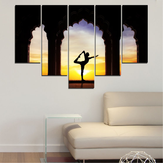 Canvas prints & wall decorative panels - 5 pieces №0076 » Red, Yellow, Brown, Black, Gray, Beige » Sunset, Shadow, Yoga Form #6