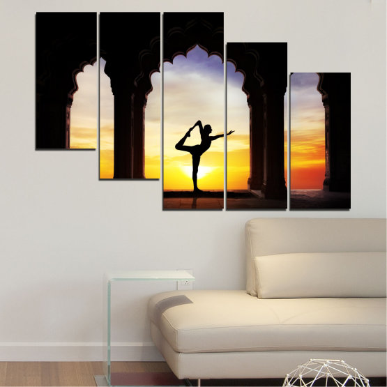 Canvas prints & wall decorative panels - 5 pieces №0076 » Red, Yellow, Brown, Black, Gray, Beige » Sunset, Shadow, Yoga Form #7