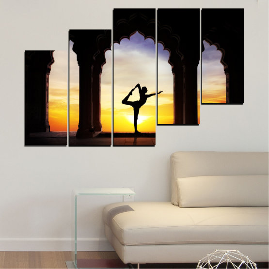 Canvas prints & wall decorative panels - 5 pieces №0076 » Red, Yellow, Brown, Black, Gray, Beige » Sunset, Shadow, Yoga Form #8