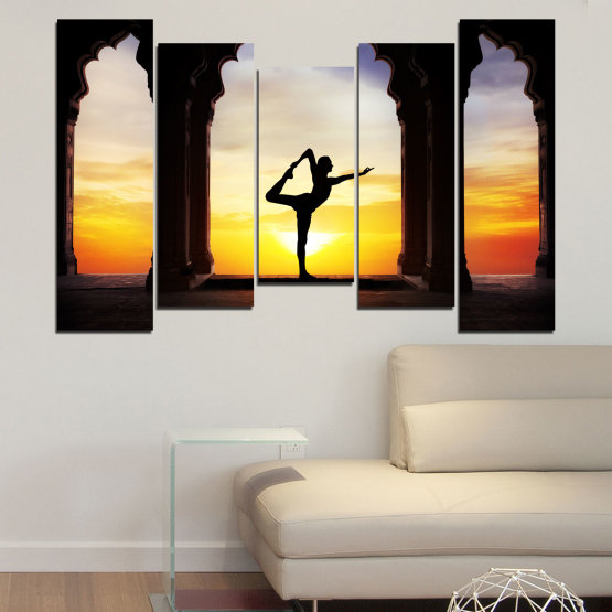 Canvas prints & wall decorative panels - 5 pieces №0076 » Red, Yellow, Brown, Black, Gray, Beige » Sunset, Shadow, Yoga Form #4