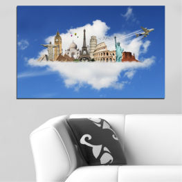 Collage, Landmark, Geography, Eiffel tower, Statue of liberty, Big ben, Coliseum » Blue, Turquoise, Gray