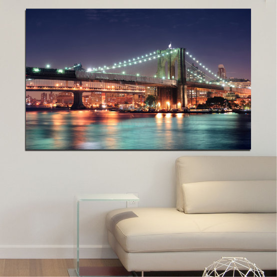 Canvas prints & wall decorative panels - 1 piece №0067 » Orange, Brown, Black, Gray, Dark grey » City, Water, Night, New york, Bridge, Usa Form #1