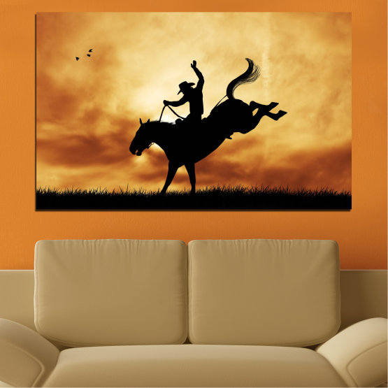 Canvas prints & wall decorative panels - 1 piece №0070 » Orange, Brown, Black, Beige » Animal, Horse, Shadow, Rodeo Form #1
