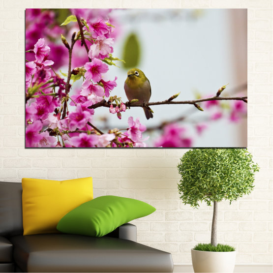 Canvas prints & wall decorative panels - 1 piece №0072 » Pink, Purple, Gray, Milky pink » Flowers, Nature, Tree, Spring, Birds Form #1